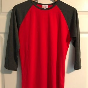 LuLaRoe Randy Small Solid Red Dark Gray Sleeves.